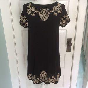Lulu's Black & Tan Shift Dress Style D3017, XS